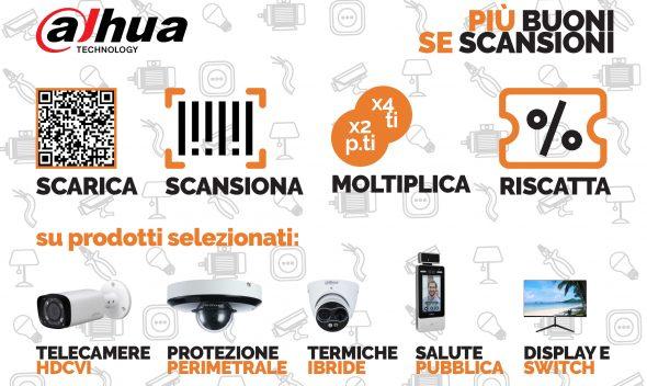 Dahua: più buoni se scansioni. Da Vegliolux sconti su Telecamere hdcvi, protezione perimetrale, mini termiche ibride, salute pubblica e display e switch