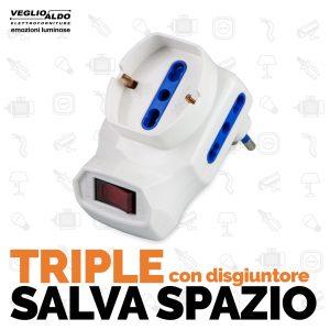 Adattatori tripli con disgiuntore Salva Spazio di Master Divisione Elettrica da Veglio Aldo, gli specialisti di illuminazione e forniture elettriche Torino